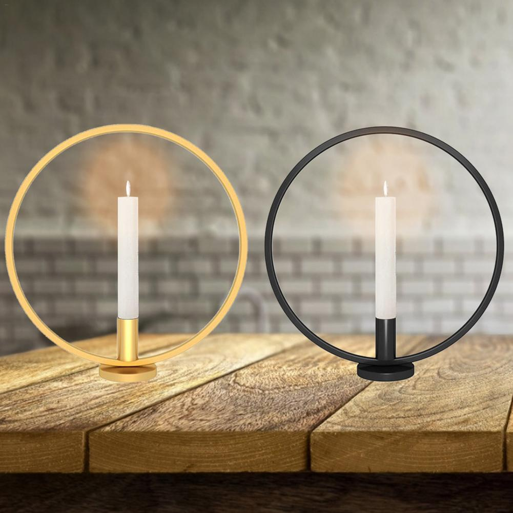3d 기하학적 북유럽 스타일 라운드 캔들 홀더 단 철 촛대 촛불 저녁 식사 장식 캔들 홀더 sconce 홈 장식