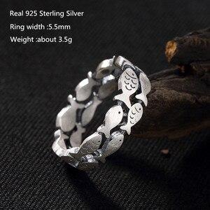 Buyee, 100% Стерлинговое Серебро 925 пробы, уникальные кольца, яркие двухрядные маленькие рыбки, Кольцо большого размера для женщин и мужчин, модн...