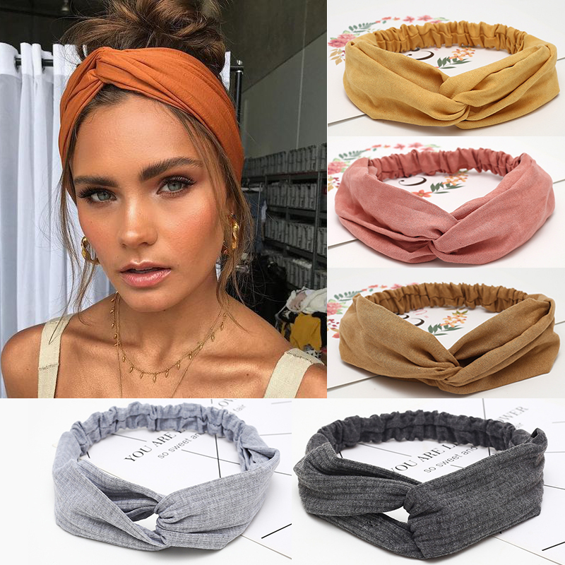 Women Headband Hair-Accessories Elastic-Hair-Bands Knotted Cross-Top Twisted Soft Solid-Color