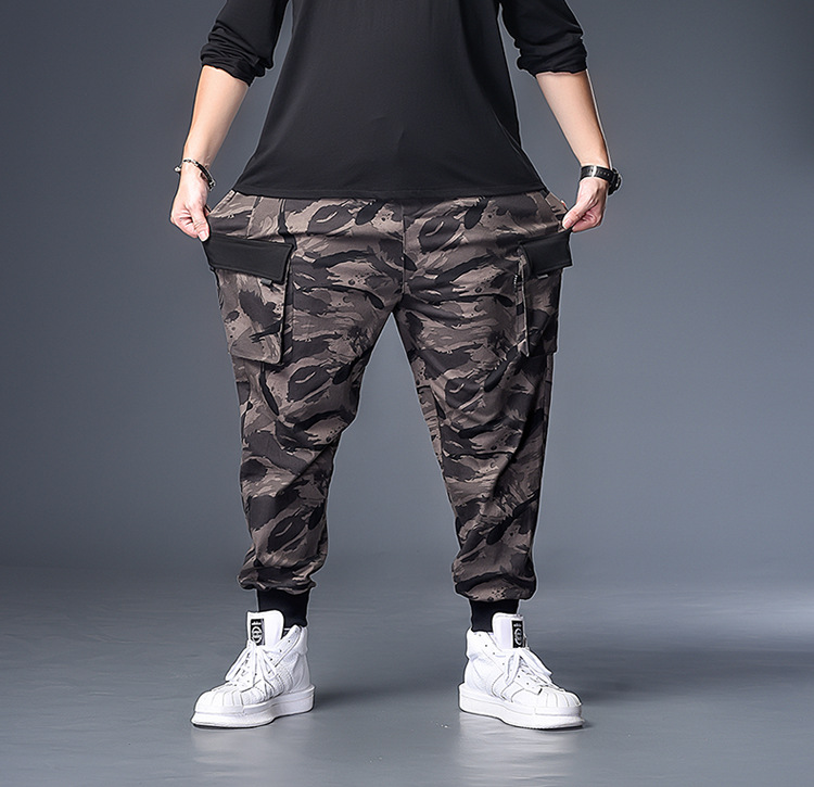 K71198 Solid Color Ink Camouflage 337 Black Bag Cover Trousers Plus-sized Bib Overall MEN'S Trousers Fat Ankle Banded Pants