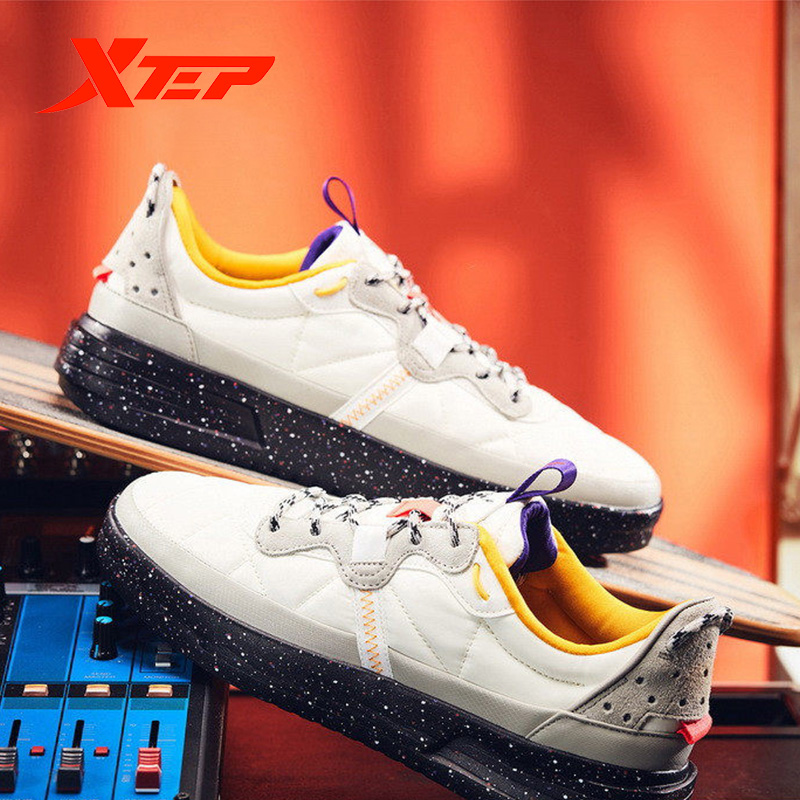 Xtep Men's Skateboarding Sports Shoes Spring New Male Fashion Basic Flat Heel Lace-Up Skateboard Outdoor Sneaker 881419319707