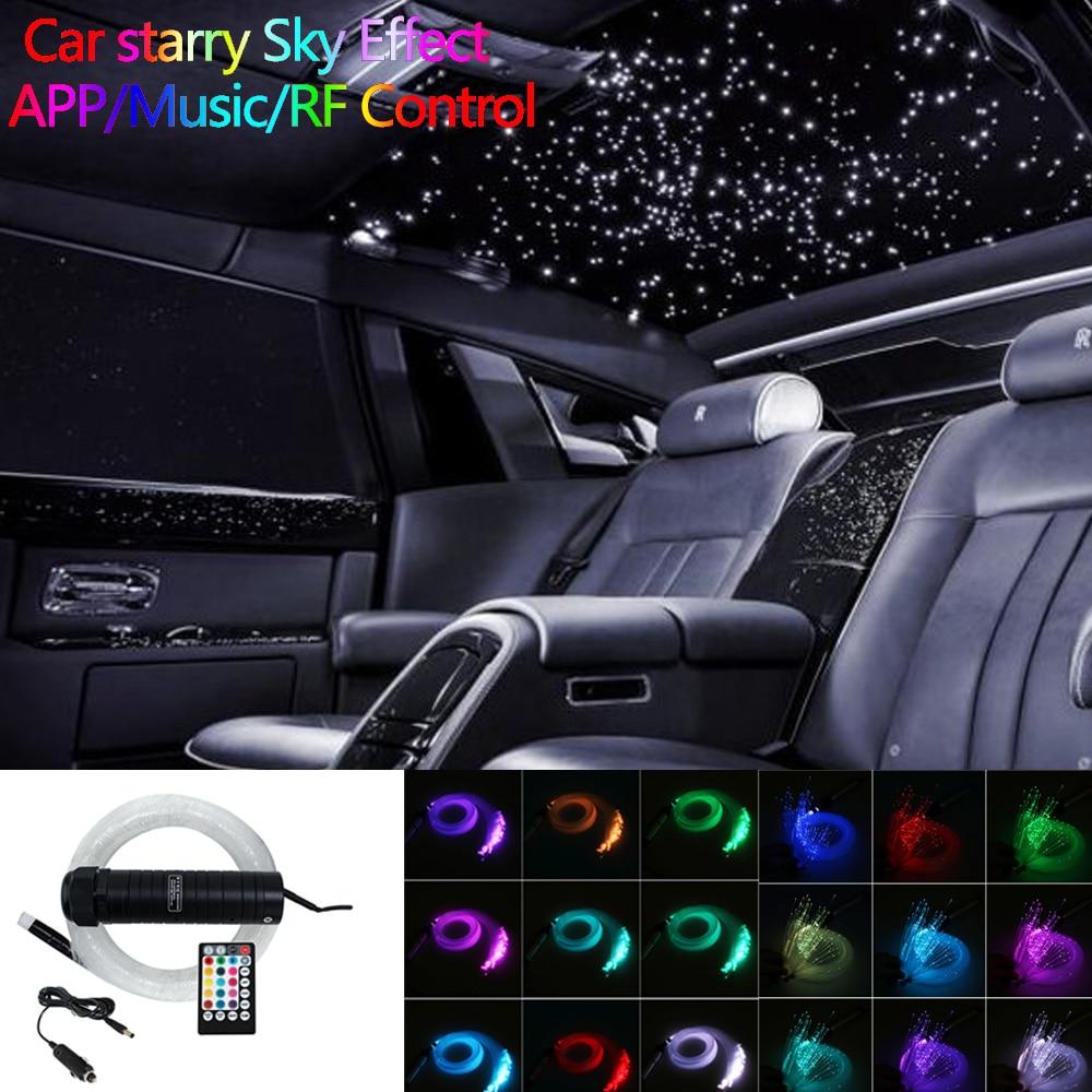 DC12V 6W RGB  Car Roof Star Lights LED Fiber Optic Star Ceiling Light Kits  2M 0.75mm 100~300pcs Optical Fiber With RF Control