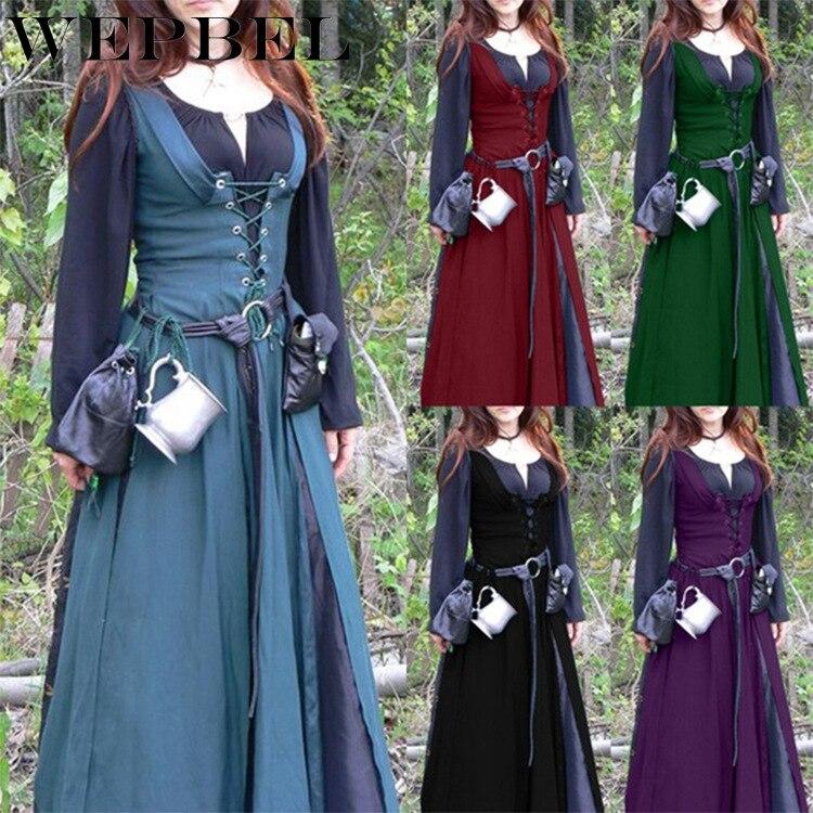 WEPBEL Woman Gothic Dress Elegant Evening Long V-Neck Bundle Corset Medieval Renaissance Vintage Long Sleeve Dress Two-Piece Set