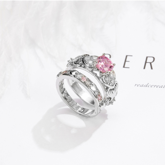 2/pc Romantic Heart Shape Crystal Engagement Wedding Ring for Women Pink/Red Gems Sets Ring for Anniversary Party Jewelry Gifts 1