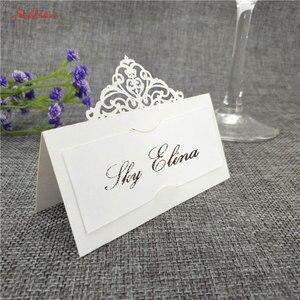 Image 1 - 10 個結婚式の名刺レーザーカット場所エスコートカード Pearlscent 紙カードゲスト名場所カード結婚式のテーブルデコレーション 8z