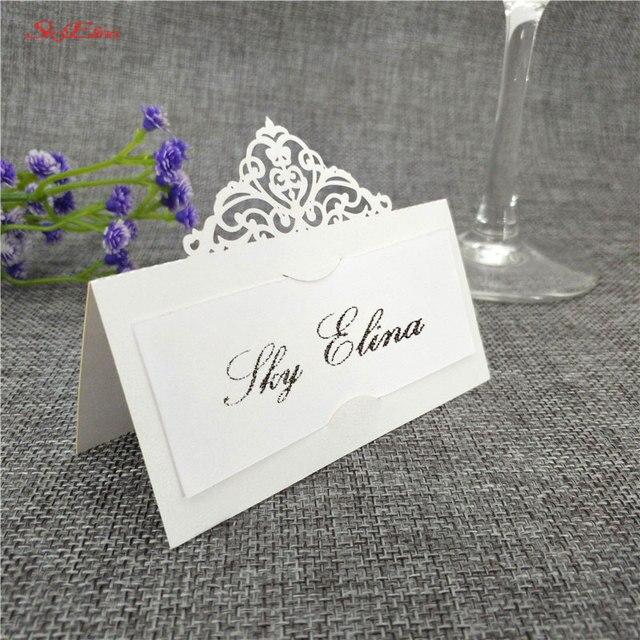 10 個結婚式の名刺レーザーカット場所エスコートカード Pearlscent 紙カードゲスト名場所カード結婚式のテーブルデコレーション 8z