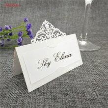 10 шт., свадебные открытки с именем, лазерная резка, карточка сопровождения, бумажные открытки с перламутровым запахом, визитная карточка с именем и местом, свадебное украшение стола 8z