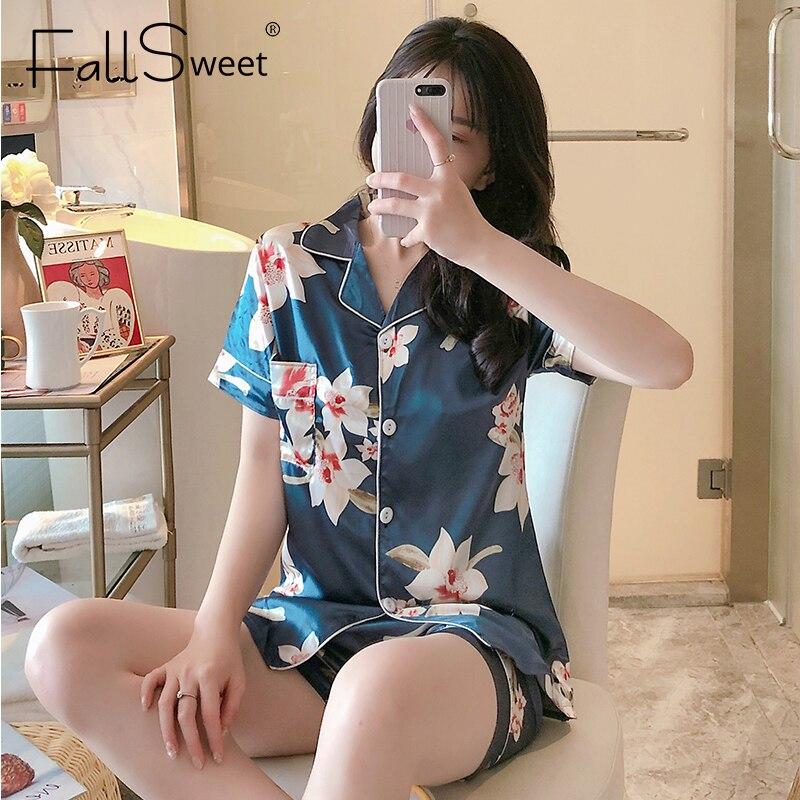 FallSweet Silk Satin Pajamas for Women Short Sleeves Sleepwear Lapel Pyjama Femme Sexy Nightwear M to XXL
