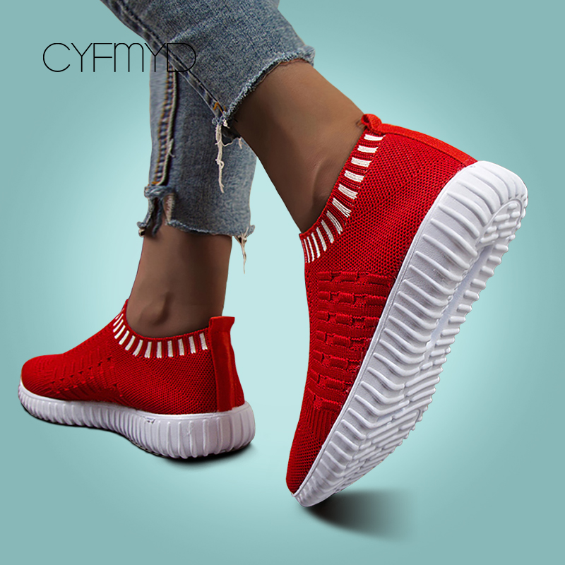 CYFMYD Sneakers For Women Tennis Soft Breathable Knited Female Casual Shoes Walking Large Size 41/42/43 Basket Femme