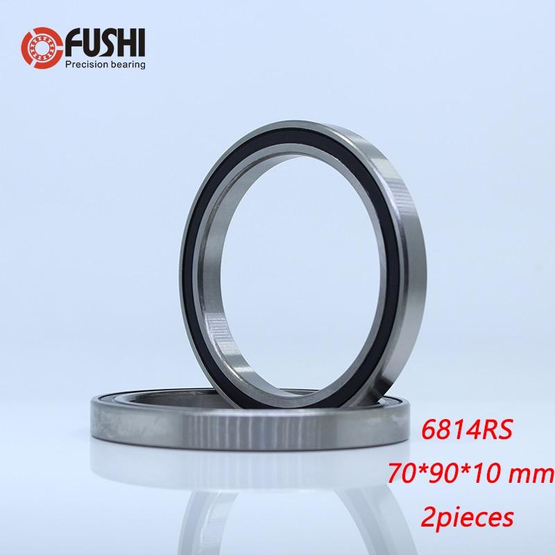 6814 2RS ABEC-1 (2PCS)  70x90x10 Mm   Metric Thin Section Bearings 61814 RS 6814RS
