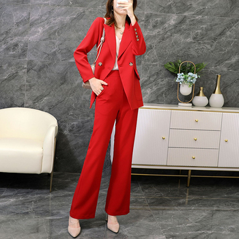 Large size M-5XL high quality female suit pants two-piece Autumn and winter new ladies office jacket Elegant wide-leg