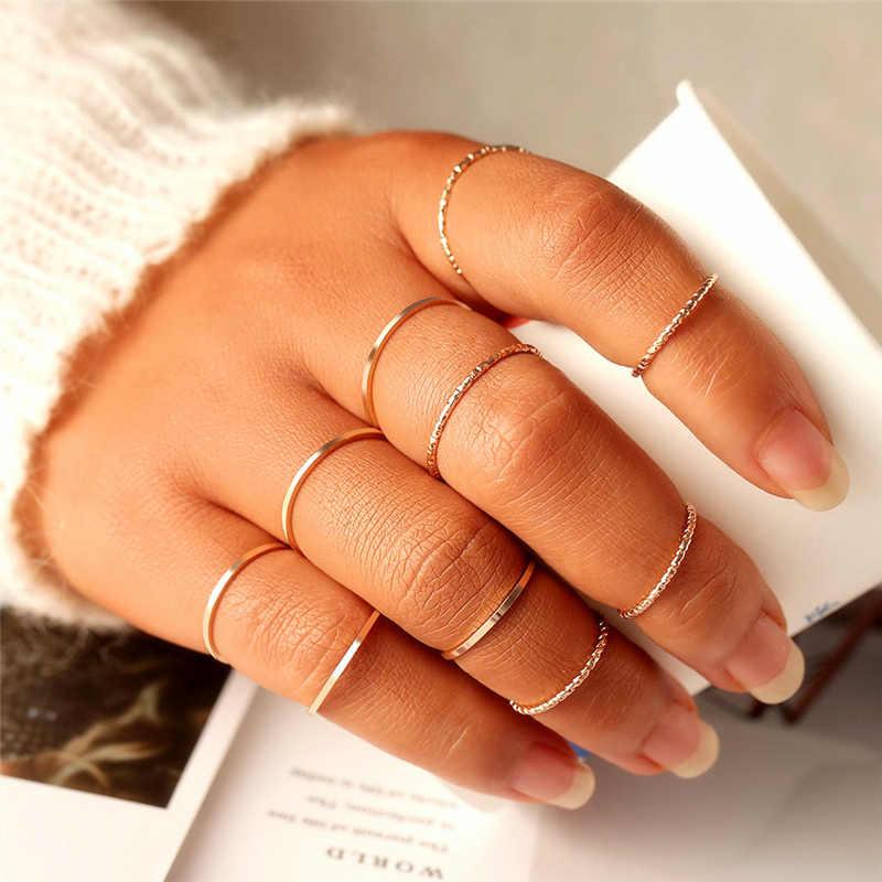 10 ชิ้น/เซ็ตMinimalist MidiรอบTwistสานชุดแหวนแฟชั่นเครื่องประดับหญิงElegant Classic Knuckle Fingerแหวน
