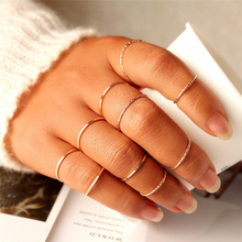 10 pcs/set Minimalist Midi Round Twist Weave Ring Set Fashion Jewelry Female Elegant Classic Knuckle Finger Rings for Women