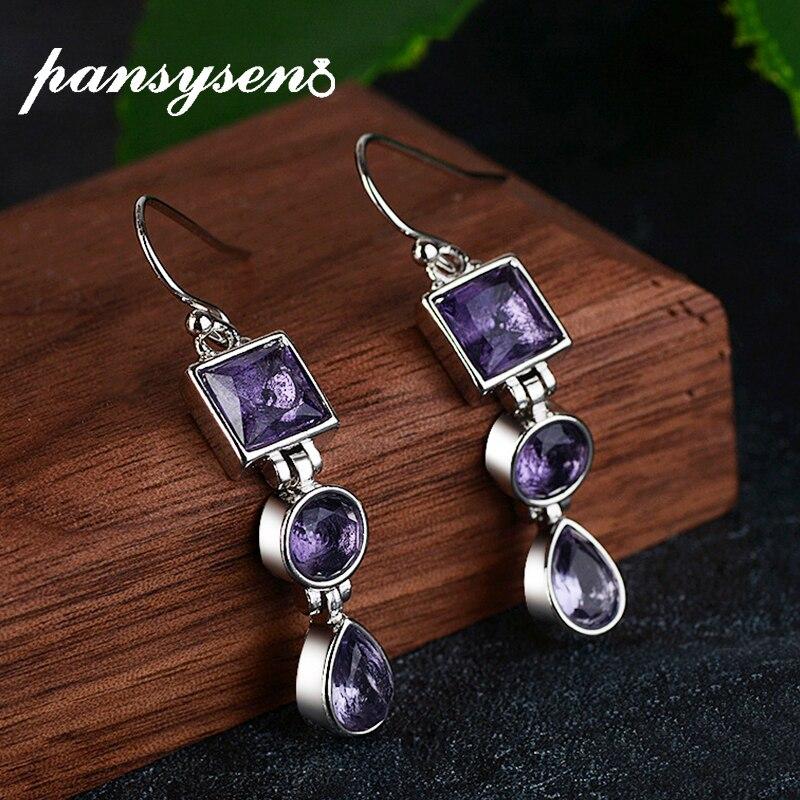 PANSYSEN New Arrival Silver 925 Jewelry Drop Earrings For Women Fashion Elegant Amethyst Dangle Earrings Wedding Wholesale Gift