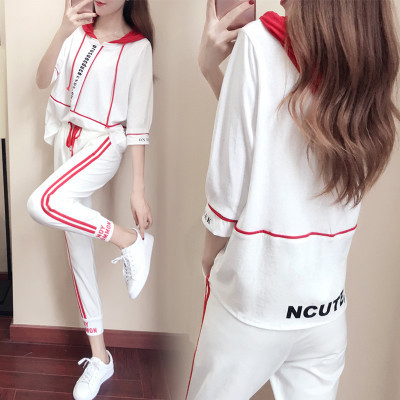 2018 Summer New Style Korean-style Short Sleeve Casual Loose-Fit Sports Set Capri Pants Slimming Hoodie Two-Piece Set WOMEN'S Dr