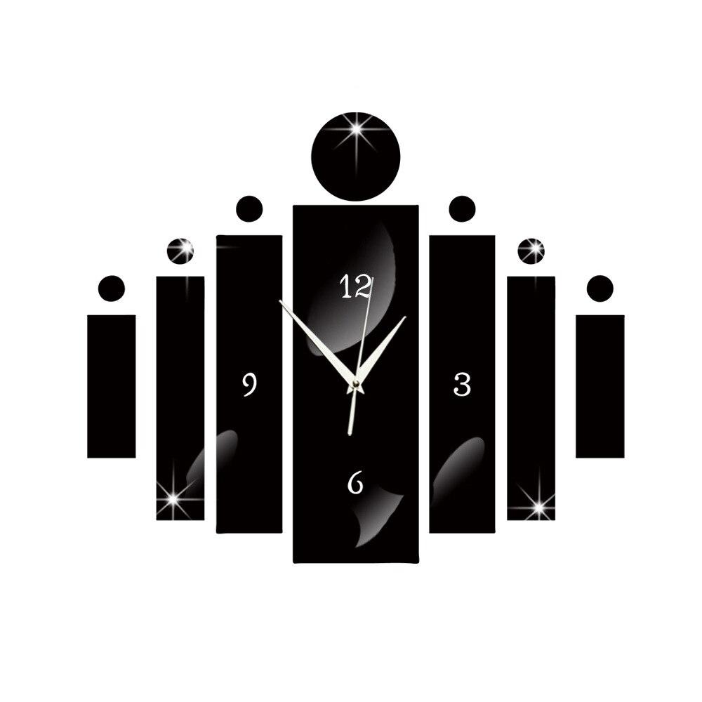 New 3D Wall Clock Sticker Rectangular Wall Clock Mirror Wall Stickers Acrylic Clocks Modern Design Big Clocks For Living Room