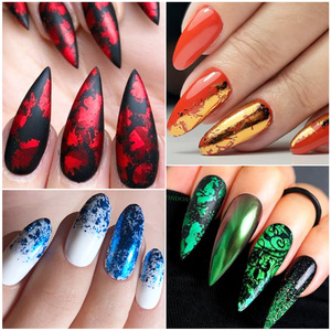 Image 5 - 14pc or 1 pc Metal Transfer Foil for Nail Art Laser Mirror Effect Charm Nail Foil Sticker Decal Manicure Accessories LA996 2