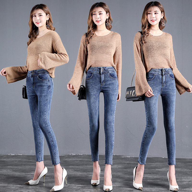 2019 Spring Clothing New Style Korean-style High-waist Ankle-length Jeans Women's Slim Fit Slimming Online Celebrity Skinny Pant