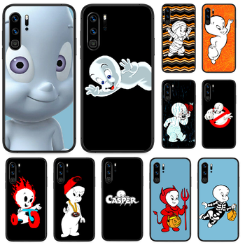 Cartoon Casper cute genius Phone case For Huawei P Mate Smart 10 20 30 40 Lite Z 2019 Pro black waterproof silicone Etui image