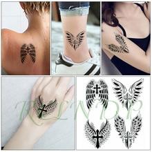 Waterproof Temporary Tattoo Sticker angel wings cross feather black Fake Tatto Flash Tatoo big size tattoos for kid Women Men