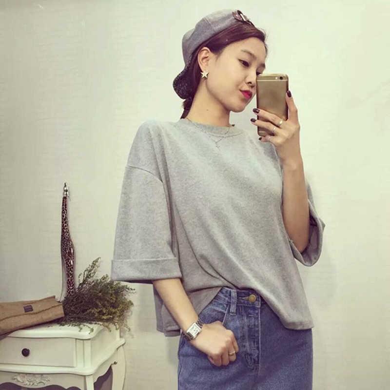 Mujeres cuello redondo manga corta nueva moda Vintage blusas señora Top Tees Rosa blanco gris camiseta gran oferta GAOKE