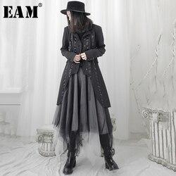 [EAM] Women Black Ribbon Asymmetrical Long Trench New Lapel Long Sleeve Loose Fit Windbreaker Fashion Tide Spring 2020 1T698