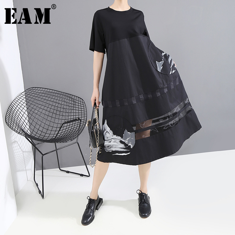 [EAM] Women Black Pattern Print Sttich Mesh Long Dress New Round Neck Short Sleeve Loose Fit Fashion Spring Summer 2020 1T450