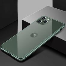 아이폰 11 프로에 대한 전화 케이스 럭셔리 하드 얇은 다시 강화 유리 및 알루미늄 금속 범퍼 케이스 커버 애플 아이폰 11 프로 최대