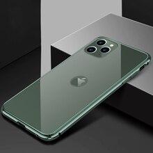 Caso do telefone para o iphone 11 pro luxo duro fino de volta vidro temperado & metal de alumínio pára choques capa para apple iphone 11 pro max