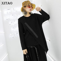 XITAO Tide Irregular Simple Black Tshirt Women Clothes 2019 Fashionable Minority Personality T Shirt O Neck Autumn New WQR1860