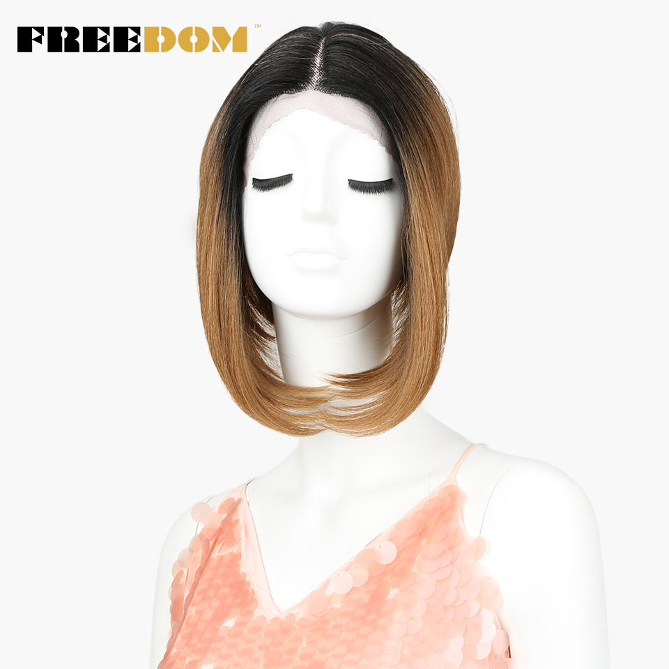 FREEDOM Lace Front Wigs For Women Short Straight Dark Roots Ombre Black Brown 12