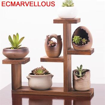 Estantes de madera estantería jardín Etagere planta soporte Flores para sala de...