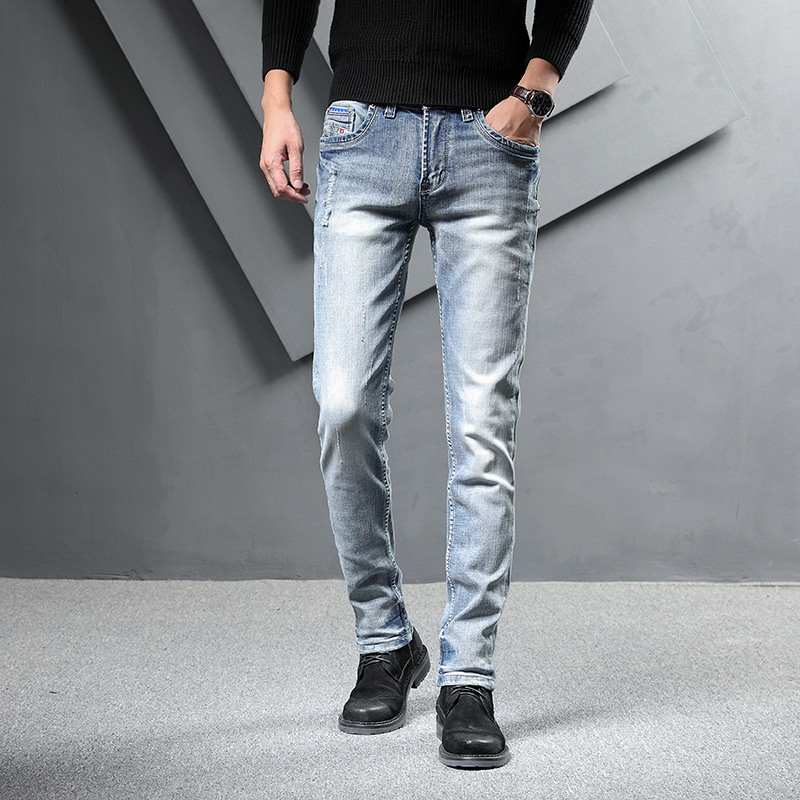 2019 Autumn And Winter New Style Pure Cotton Classic Blue And White Frayed Elasticity Jeans Korean-style Straight-Cut Can Be Con