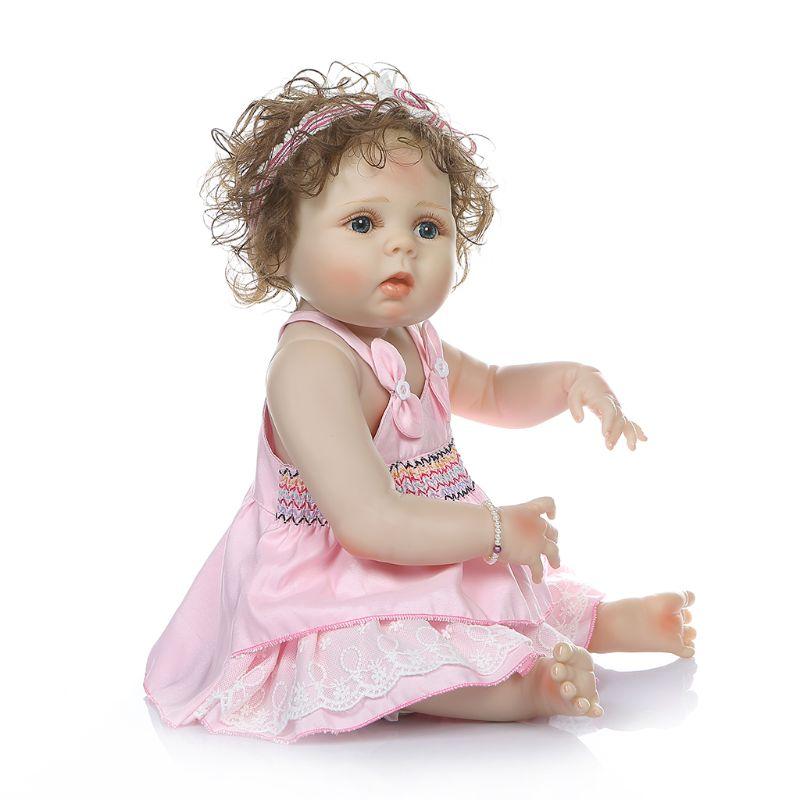 60 cm In Vinile Del Silicone Reborn Baby Doll Realistica della principessa Del Bambino Della Principessa capelli ricci ragazza bebe Realistico Bambini regali di Compleanno - 5