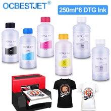 250 مللي * 6 DTG الحبر السائب T50 P50 R290 R330 1390 1410 L800 L1800 R1900 R2000 ل DX5 DX6 DX7 DX9 DX10 رأس الطباعة طابعة DTG