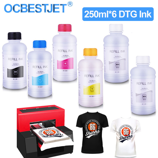 250ML * 6 DTG 잉크 T50 P50 R290 R330 1390 1410 L800 L1800 R1900 R2000 용 DX5 DX6 DX7 DX9 DX10 헤드 DTG 프린터