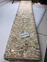 Tecido de renda tule francês do ouro de organza africano, tecido de renda com lantejoulas, bordado para o vestido de casamento cop-007