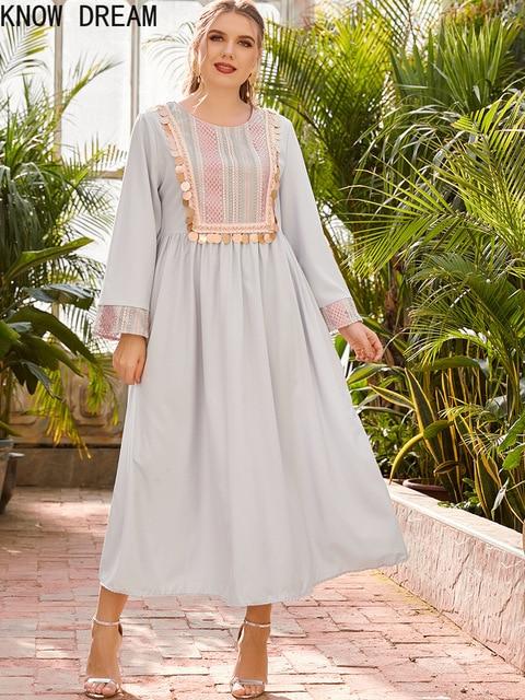 KNOW DREAM Dress Women Plus Size Women's Round Neck Long Sleeve Fashion Print Stitching Beads Waist Fashion Muslim Dress 5
