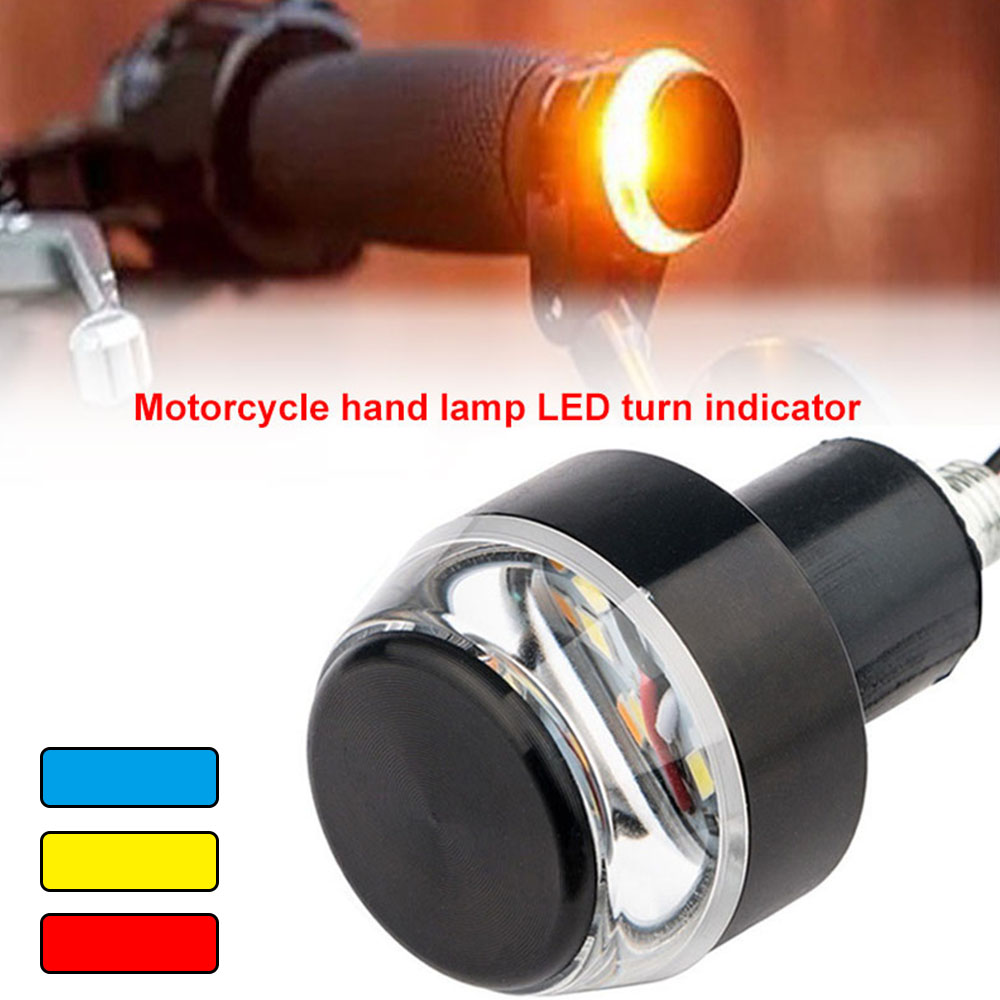 2 Pcs LED Motorcycle 22mm Handlebar End Turn Signal Light Yellow Universal Indicator Flasher Handle Bar Blinker Side Marker Lamp