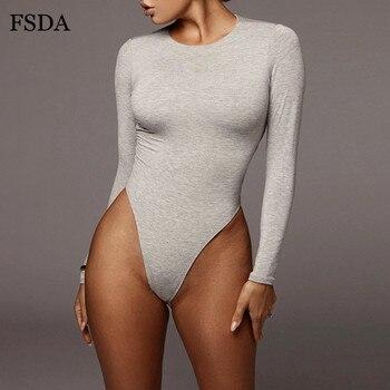 FSDA O Neck Long Sleeve Solid White Sexy Bodysuit Women Black Autumn Winter Body Top Gray Casual Lady Streetwear Bodysuits 4