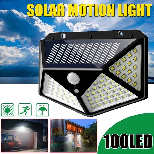 100 LED 3 Modes Solar Power Wall Light With 2200mAh Battery Powered PIR Motion Sensor Outdoor Garden Lamp