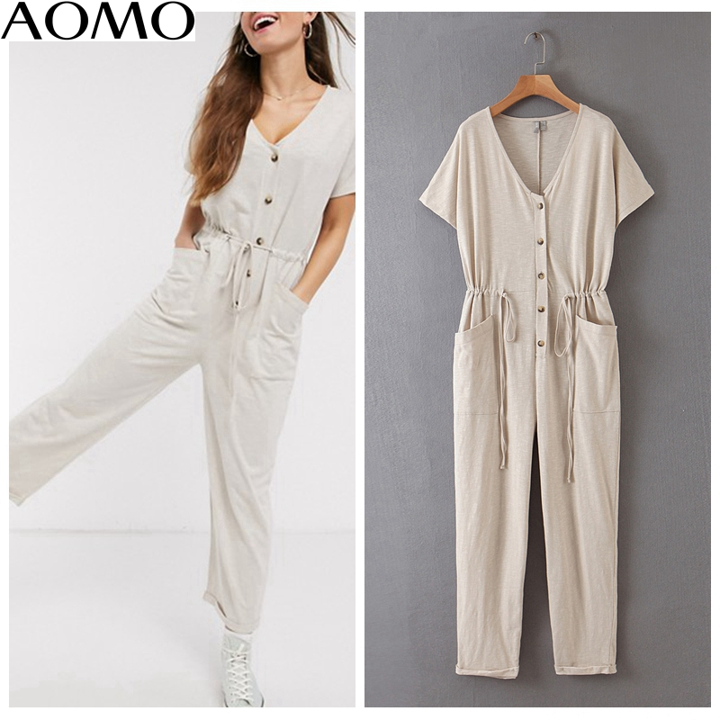 AOMO Fashion Women Summer Solid Long Jumpsuit Short Sleeve Buttons Pocket V Neck Female Casual Jumpsuit QB141A