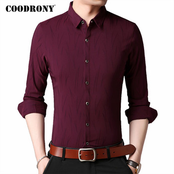 COODRONY Brand Long Sleeve Shirt Men Clothes Spring Autumn New Business Casual Shirts Mens Embroidery Cotton Chemise Homme C6031 girls plaid blouse 2019 spring autumn turn down collar teenager shirts cotton shirts casual clothes child kids long sleeve 4 13t