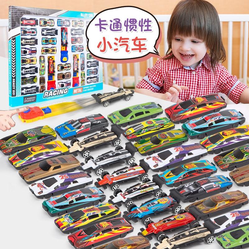40pcs/set Boys Toys Alloy Metal Racing Car Model Collection Mini Type Ejector Car Toys Vehicle Model Kids Toys