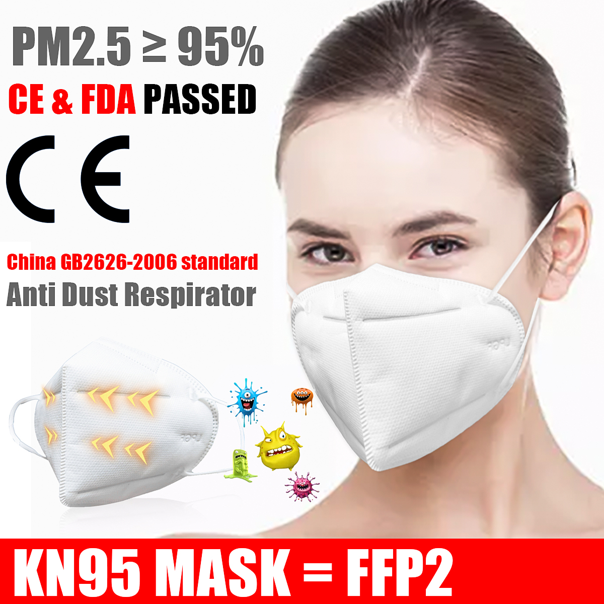 5 Layers Thicken Mask N95 For Germ Protection Mouth Face Adult Disposable Masks Filter Filtraion Cotton Anti Dust Pm2.5 Bacteria