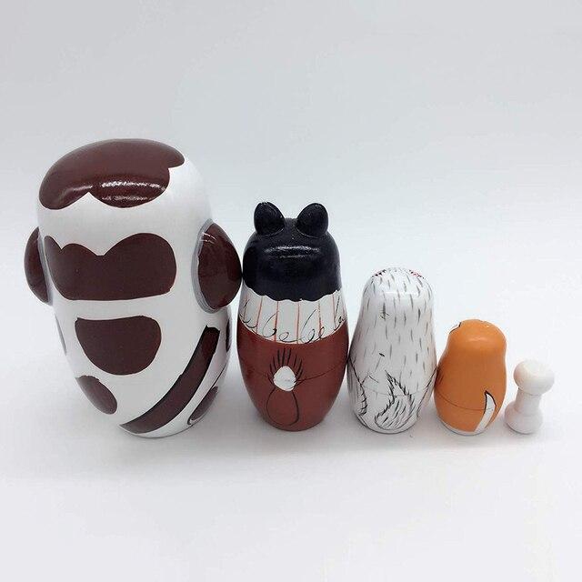 5Pcs/Set Hand Painted Dotted Dog Animal Nesting Dolls Matryoshka Puzzles Assembly Model Figurines Toys 5
