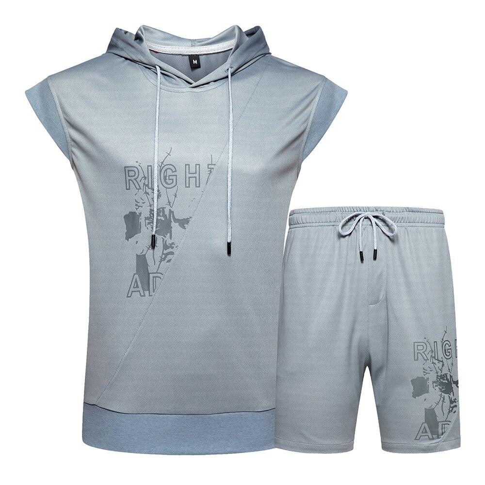 US/Euro Size 2PC Set Men Short Sleeveless T Shirts Tops+ Shorts Suit Mens Short Sets Male Tops De Dos Piezas + Pantalones Cortos