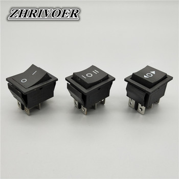 цена на KCD4 6 Pin Black Rocker Switch ON-OFF-ON 2/3 Position 16A 250VAC/ 20A 125VAC Self-reset/MomentaryPower Switch