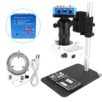 Microscopio Electrónico Digital para reparación de teléfonos, cámara compatible con lente 130X y lámpara LED Circular de 38MP, 21MP, 16MP, 8MP, VGA, HDMI