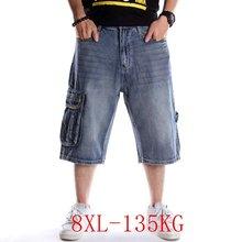 Джинсовые шорты в стиле хип хоп большого размера 4xl 8xl укороченные